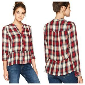 Splendid Edgware Plaid Crop Shirt with Fray Sz S